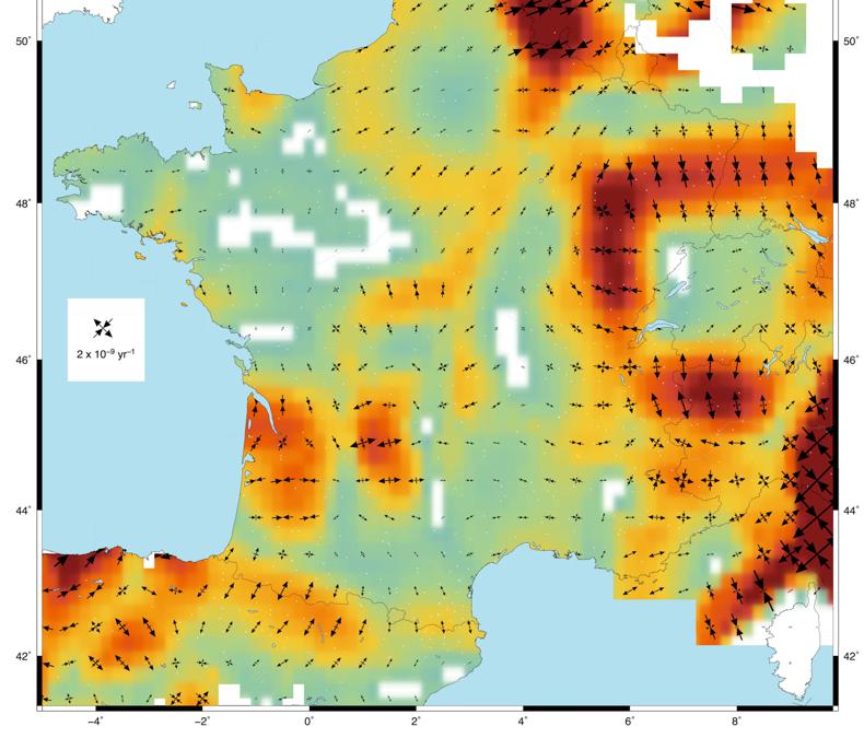 Première carte des taux de déformation à l'échelle de la France Métropolitaine