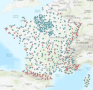 Carte des réseaux instrumentaux Résif