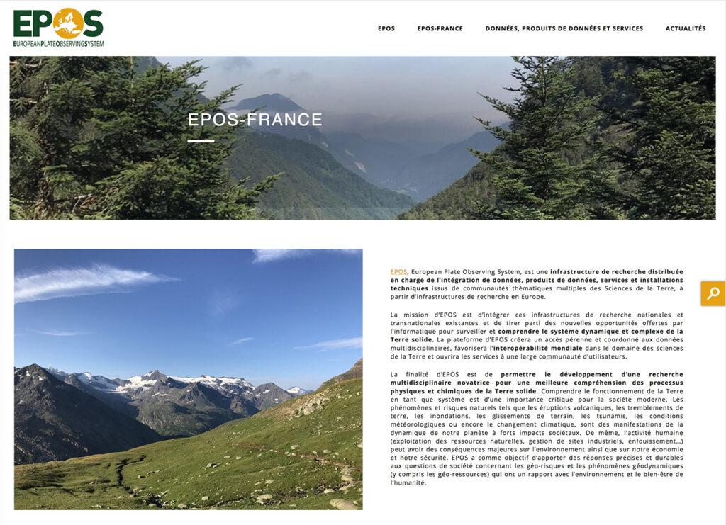 Page d'accueil du site web Epos-France mis en ligne le 9 juin 2020