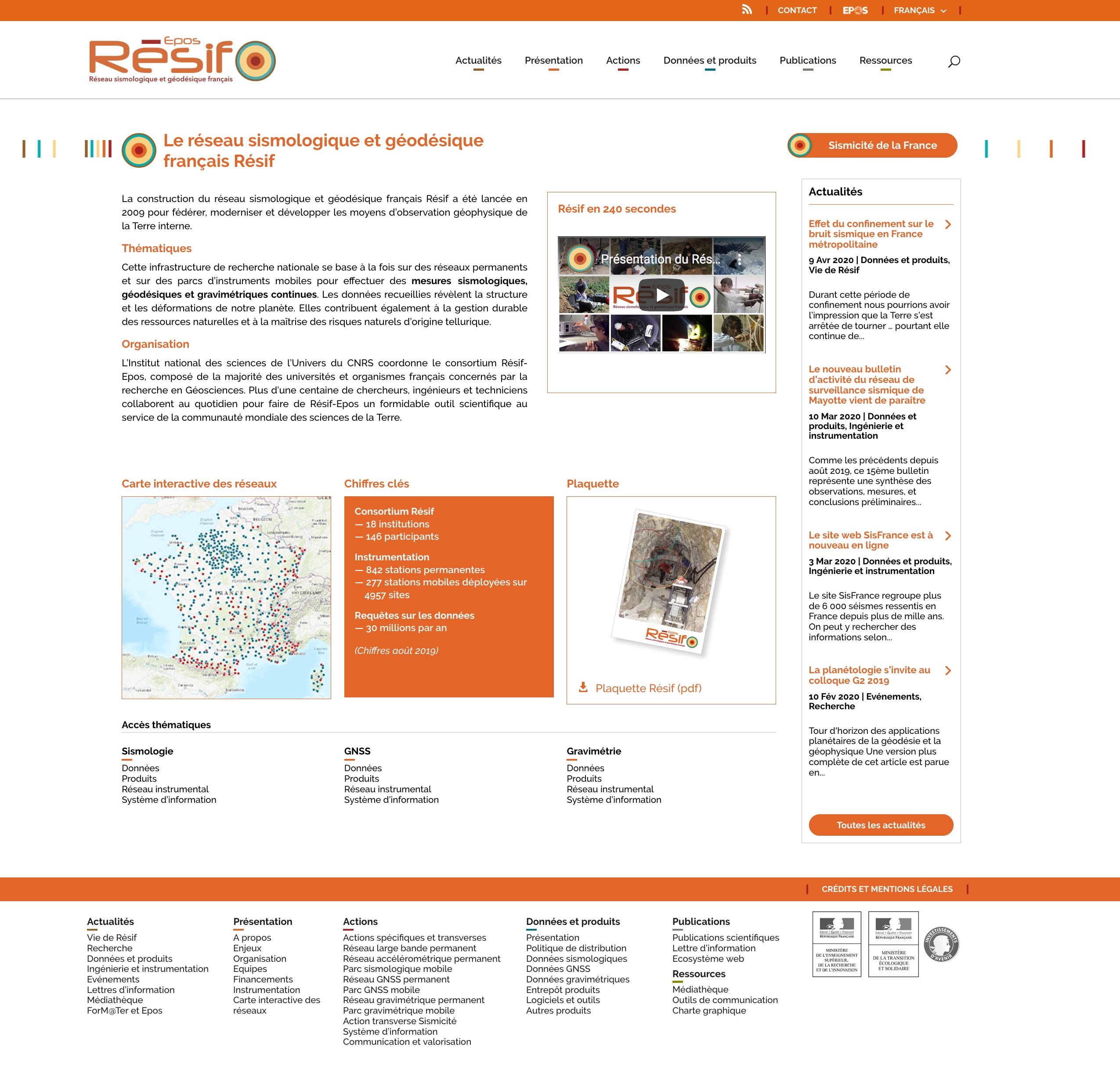 Page d'accueil site web Résif-Epos juin 2020