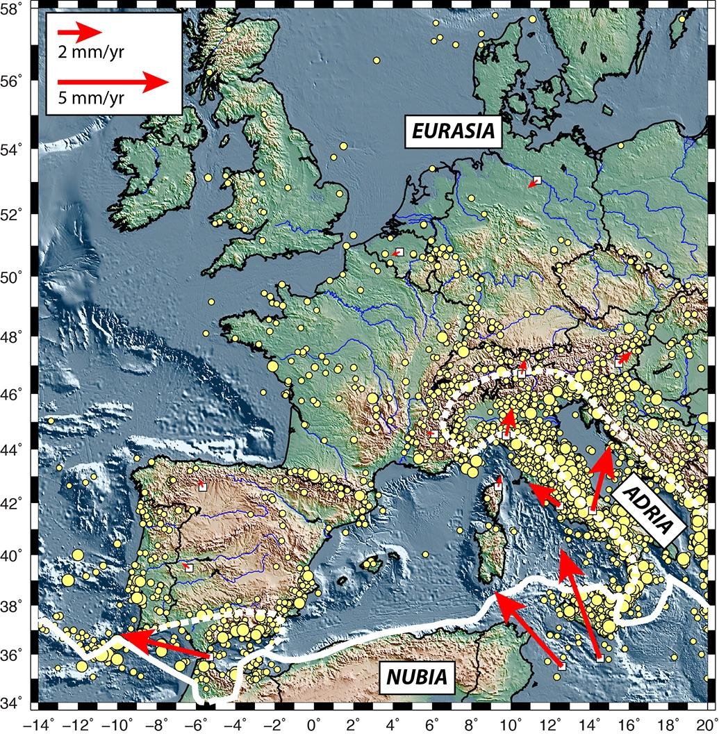 Le cadre tectonique actuel de l'Europe occidentale.