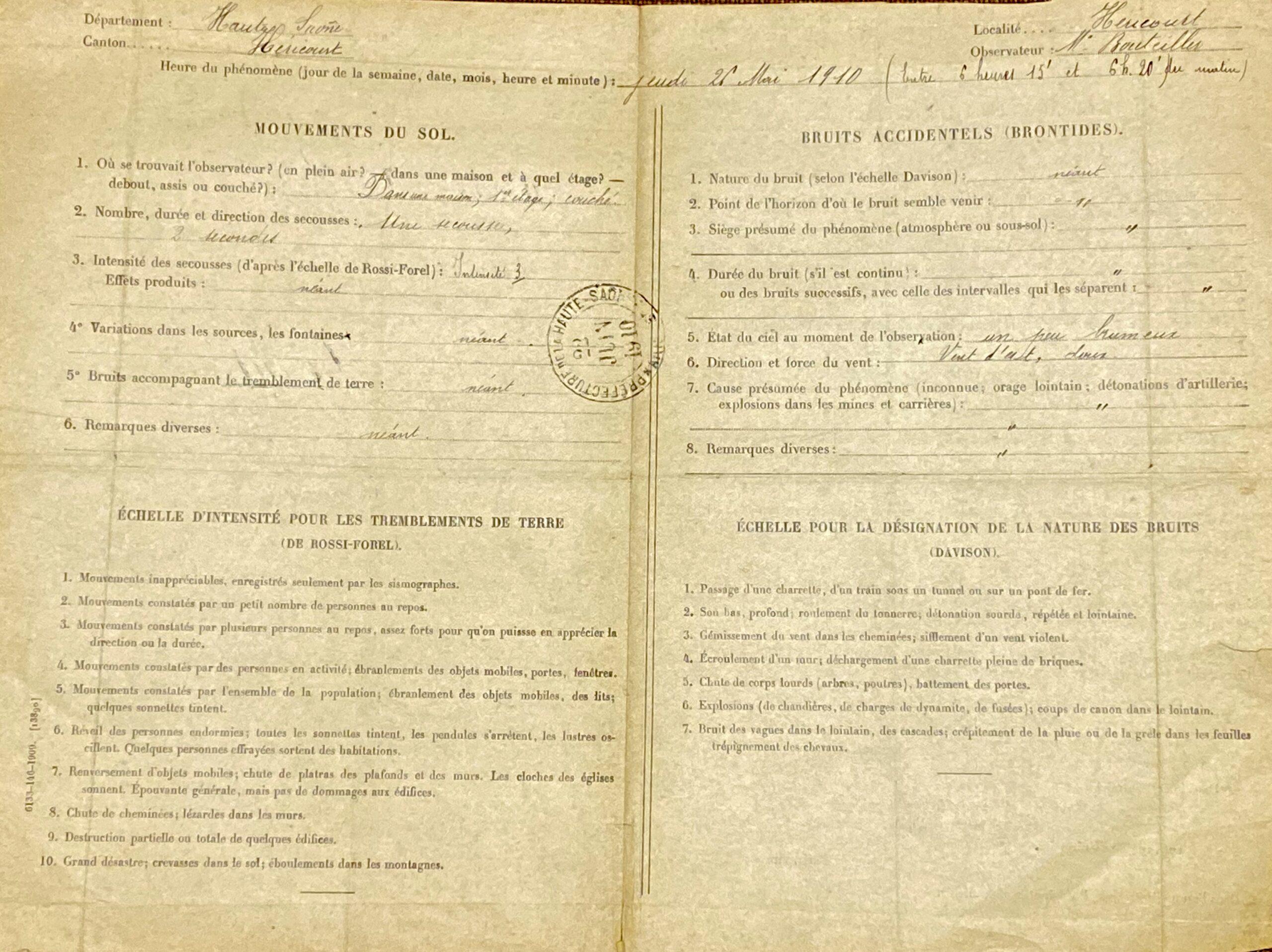Un formulaire de témoignage de 1910 trouvé dans les archives du BCSF