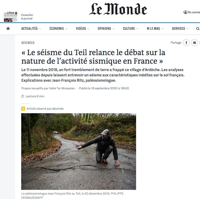 The newspaper Le Monde is interested in the research carried out on the Teil earthquake.