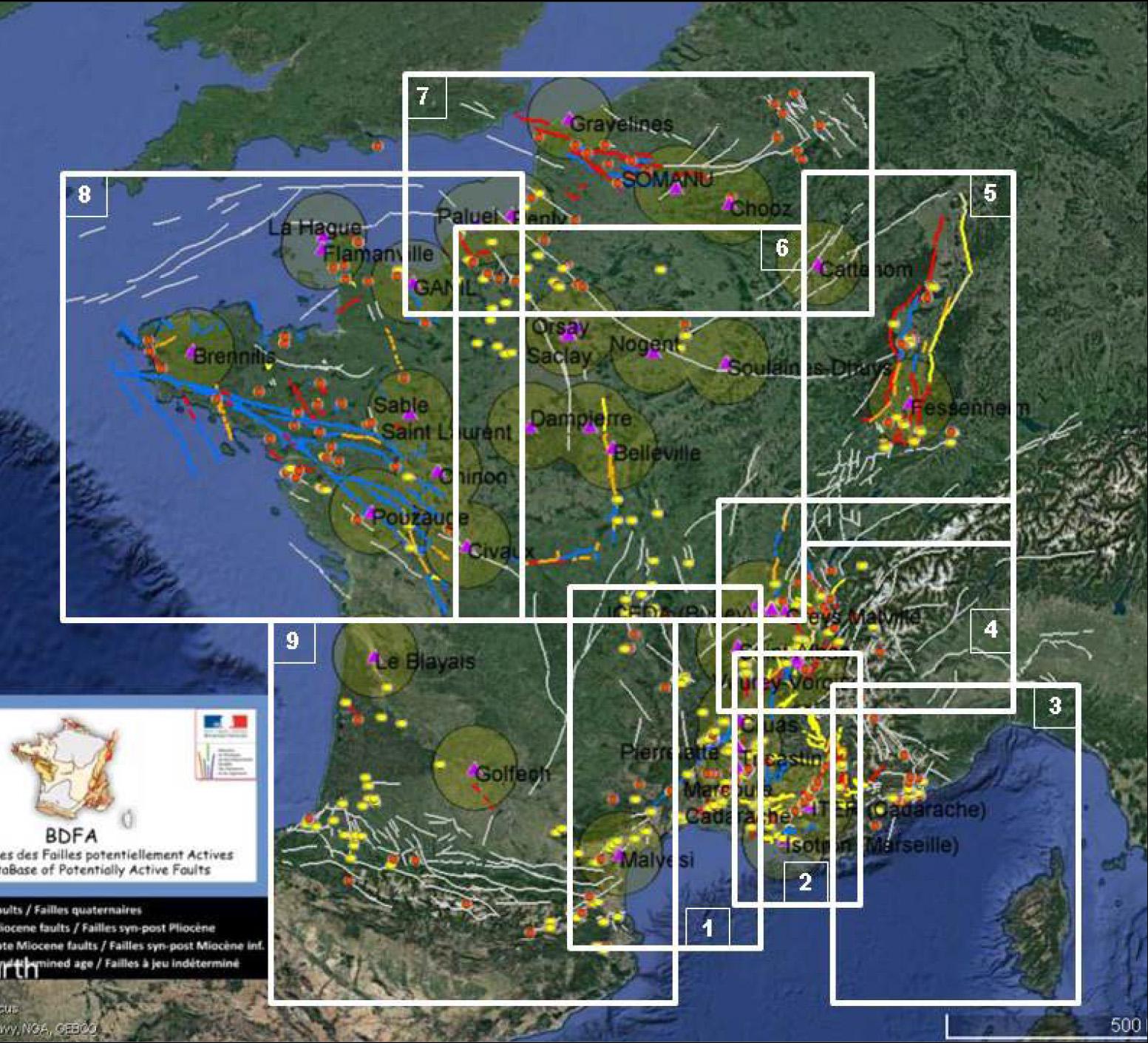 Carte des régions concernées par l'axe Failles actives France de Résif