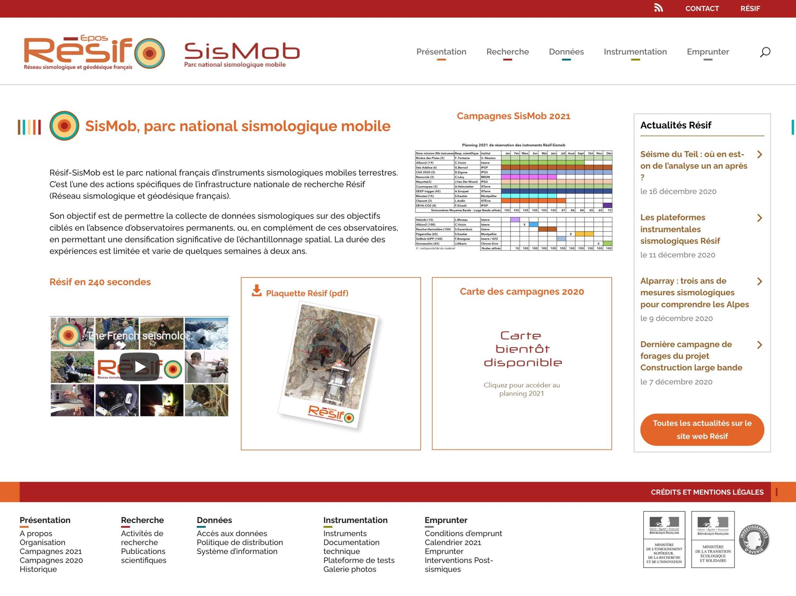 Page d'accueil du site web sismob.resif.fr version 2020
