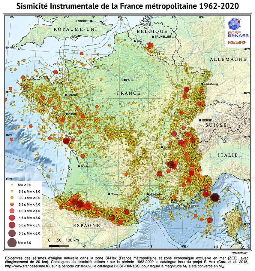 Sismicité instrumentale de la France 1962-2020