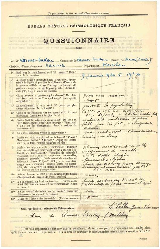 Formulaire d'enquête macrosismique créé par le BCSF en 1926 et utilisé de 1927 à 1977