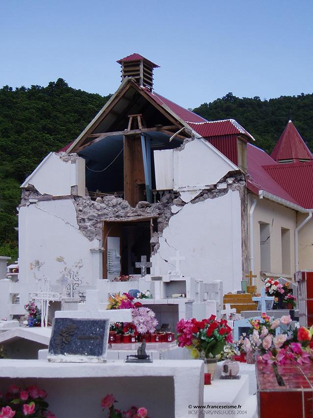 Endommagement de l'église de Terre-de-Bas après le séisme des Saintes. Image prise lors de la mission de terrain du Groupe d'intervention macrosismique (GIM)
