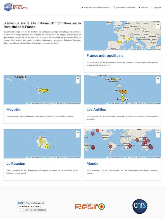 Page d'accueil du site web du Réseau national de surveillance sismique (Rénass), version février 2021