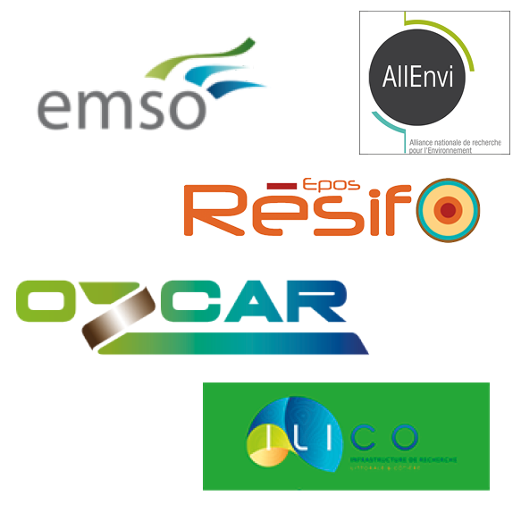 Logos of Research infrastructures in interaction with Resif