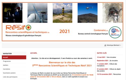Page d'accueil du site web des 5e Rencontres scientifiques et techniques Résif