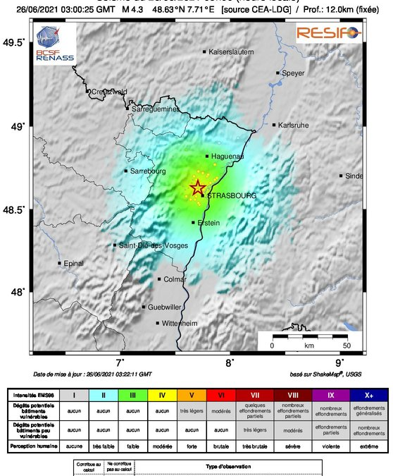 New induced earthquake of magnitude 3.9 in Strasbourg