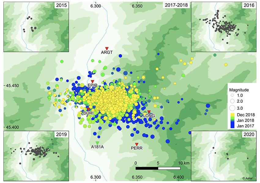 Publication: surveillance de l'essaim sismique de la vallée de la Maurienne de 2017 à 2019