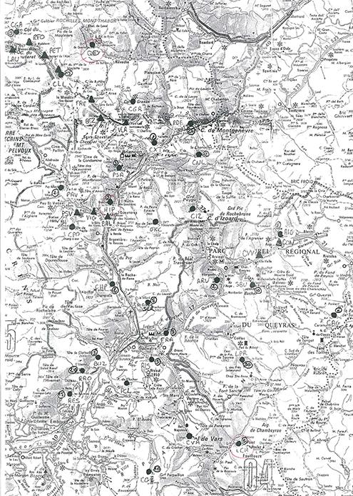 Campagne de mesures GNSS : mesure de la déformation des Alpes, juillet 2021 - Carte des sites