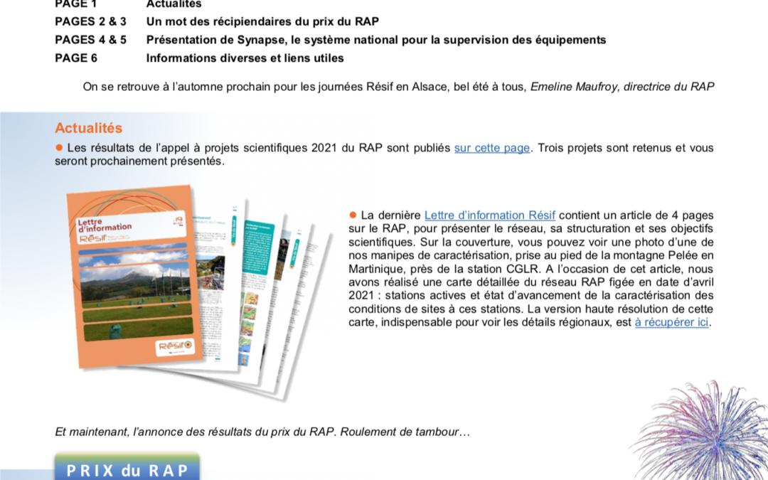 Publication of the RAP Newsletter n°32