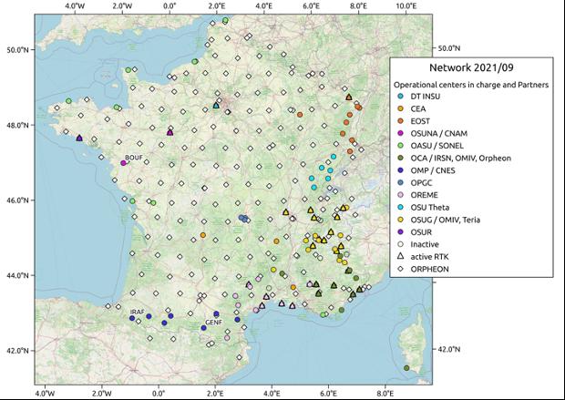 Carte du réseau Résif-Renag en septembre 2021