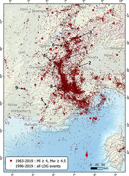 Carte de la sismicité du sud-est de la France de 1996 à 2019