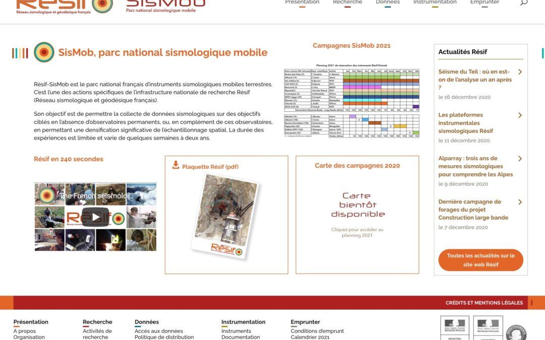 Le nouveau site web du parc national sismologique mobile SisMob est en ligne