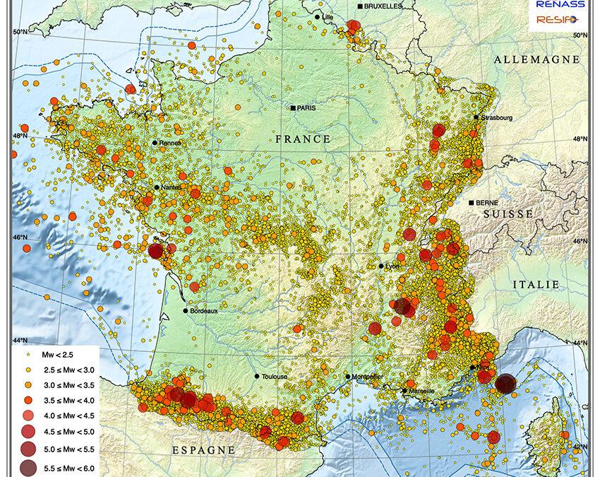 La carte sismicité instrumentale de la France métropolitaine sur la période 1962-2020 est en ligne